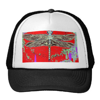Black-white Dragonfly on red-purple by Sharles Cap