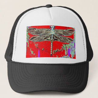 Black-white Dragonfly on red-purple by Sharles Trucker Hat