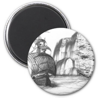 Black & White Drawing of a Sailing Ship 6 Cm Round Magnet