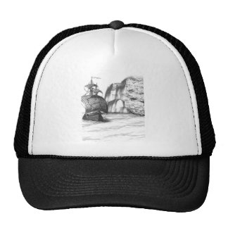 Black & White Drawing of a Sailing Ship Cap