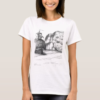 Black & White Drawing of a Sailing Ship T-Shirt