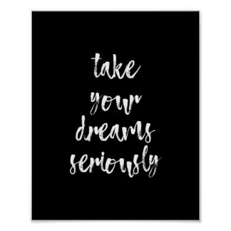 Black & White dreams quote wall art poster   8X10