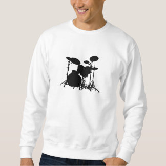 Black & White Drum Kit Silhouette - Drummers Sweatshirt