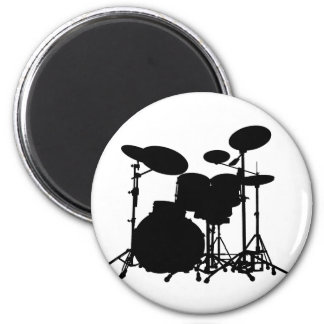 Black & White Drum Kit Silhouette - For Drummers 6 Cm Round Magnet