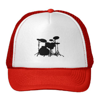 Black & White Drum Kit Silhouette - For Drummers Cap