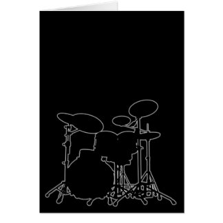 Black & White Drum Kit Silhouette - For Drummers Card