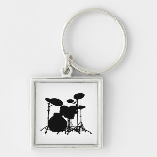 Black & White Drum Kit Silhouette - For Drummers Silver-Colored Square Key Ring
