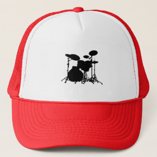 Black & White Drum Kit Silhouette - For Drummers Trucker Hat