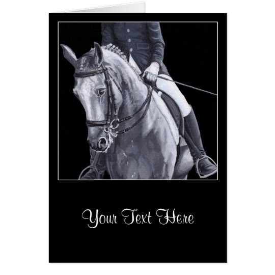 Black & White Duo Dressage Horse Greeting Card