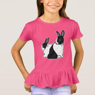 Black & White Dutch Rabbits Girls' Ruffle T-Shirt