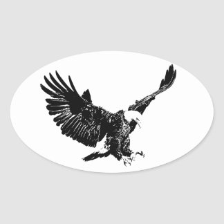 Black & White Eagle Oval Sticker