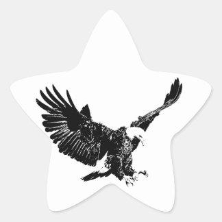 Black & White Eagle Star Sticker