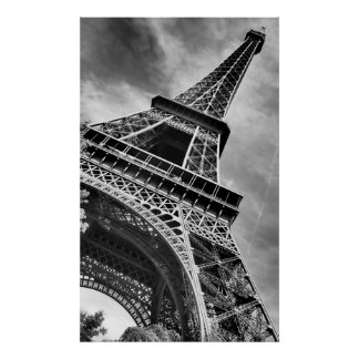 Black & White Eiffel Tower From Below Poster