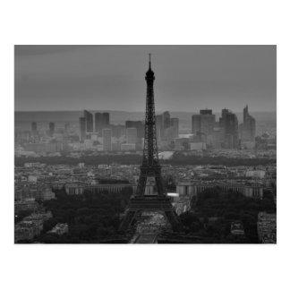 Black White Eiffel Tower Paris Europe Travel Postcard