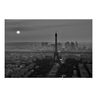 Black White Eiffel Tower Paris Europe Travel Poster