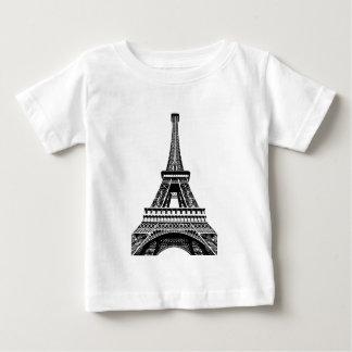 Black white Eiffel Tower Paris France Art Artwork Baby T-Shirt