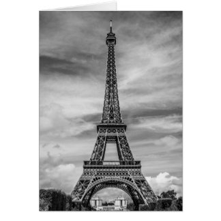 Black & White Eiffel Tower Paris France Greeting Card