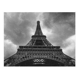 Black & White Eiffel Tower Paris French Travel Postcard