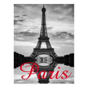 Black White Eiffel Tower Paris Love City Travel Postcard