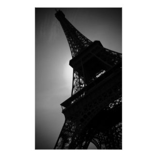 Black White Eiffel Tower Silhouette in Paris Poster