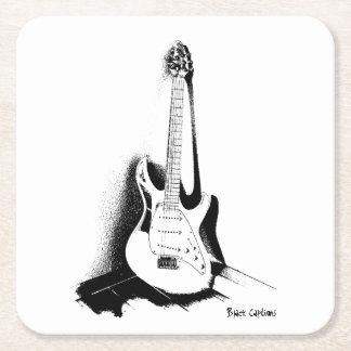 Black & White Electric Guitar - Coaster