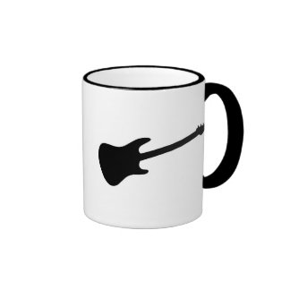 Black & White Electric Guitar Silhouette Coffee Mugs