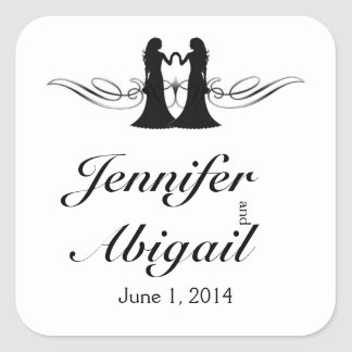 Black White Elegance Brides Wedding Envelope Seal Square Sticker