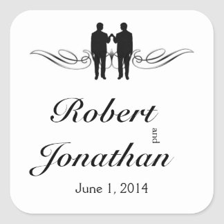 Black White Elegance Groom Wedding Envelope Seal Square Sticker