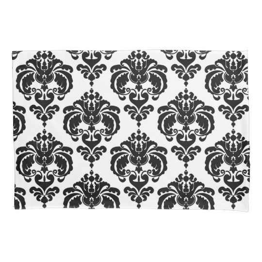 Black & White Elegant Chic Damask Pattern Pillowcase