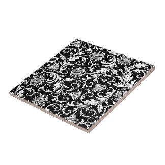 Black & White Elegant Floral Damask  Pattern Small Square Tile