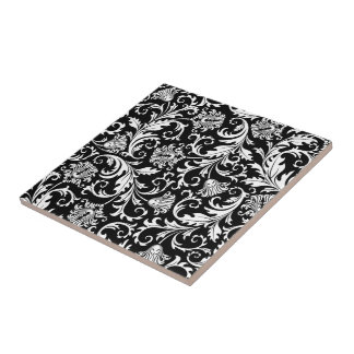 Black & White Elegant Floral Damask  Pattern Tile