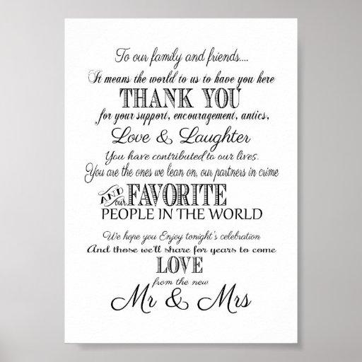 Black & white Elegant wedding Thank you sign
