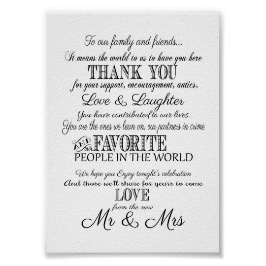 Black & white Elegant wedding Thank you sign