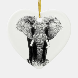 Black White Elephant Christmas Ornaments