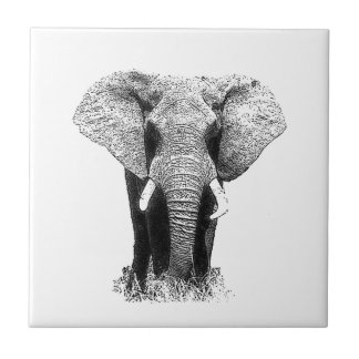 Black & White Elephant Small Square Tile