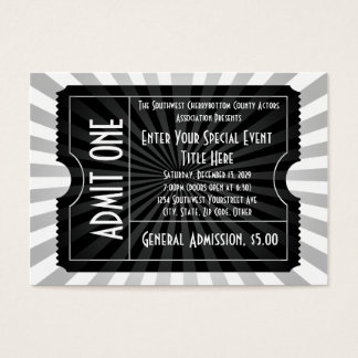 Black + White Event Ticket, Lg Business Card Size