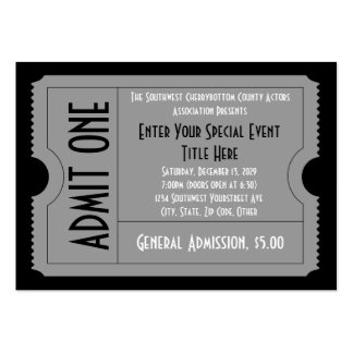 Black+White Event Ticket Pack Lg Business Card Sz