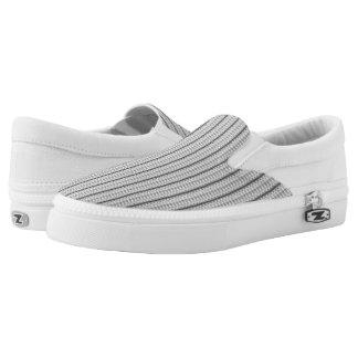 Black & White Eyelet Stripe Slip On Shoes