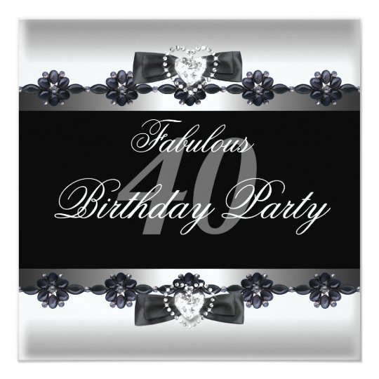 Black White Fabulous 40 40th Birthday Party Card