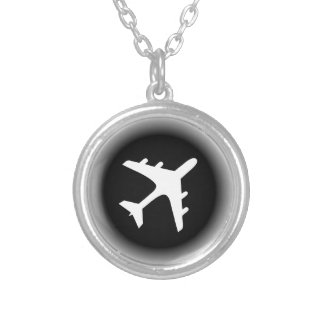 Black white fade airplane design silver plated necklace