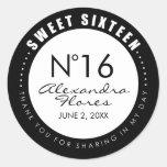 Black & White Fashion Sweet 16 Favour Label Round Sticker