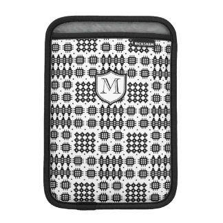 Black, White Faux Welsh Tapestry with Monogram iPad Mini Sleeve