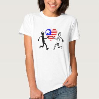 black white figure holding heart shaped flag tee