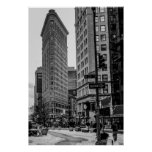 Black & White Flatiron Building Photo in NYC Poster