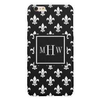 Black White Fleur de Lis Blk Sq 3 Initial Monogram iPhone 6 Plus Case