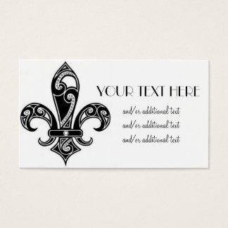 Black & White Fleur De Lis Business Card