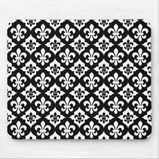 Black White Fleur De Lis Pattern Mouse Pad