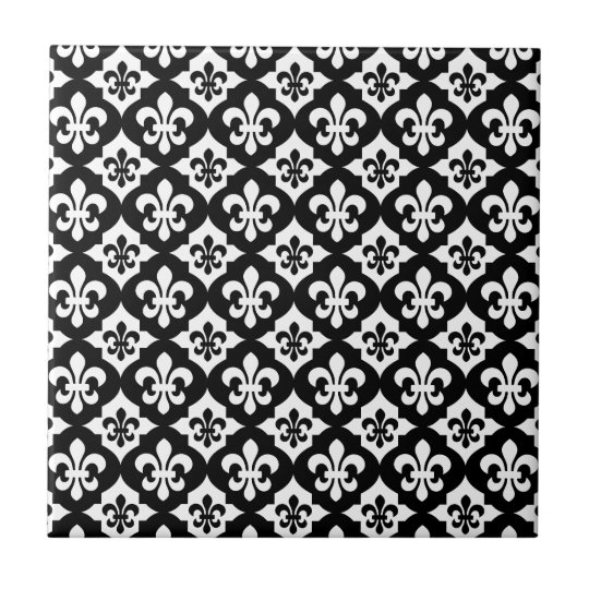Black White Fleur De Lis Pattern Small Square