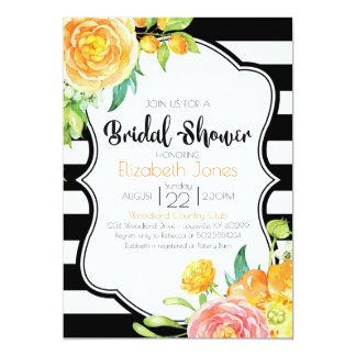 Black & White Floral Bridal Shower Invitation