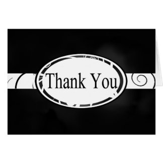 Black & White Floral Button Thank You Card